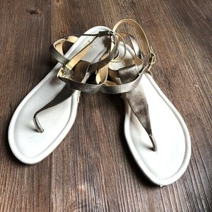 COLE HAAN Espadrille Gold Ankle Strap Sandals 9.5